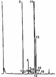 Gascromatogramma della frazione sterolica